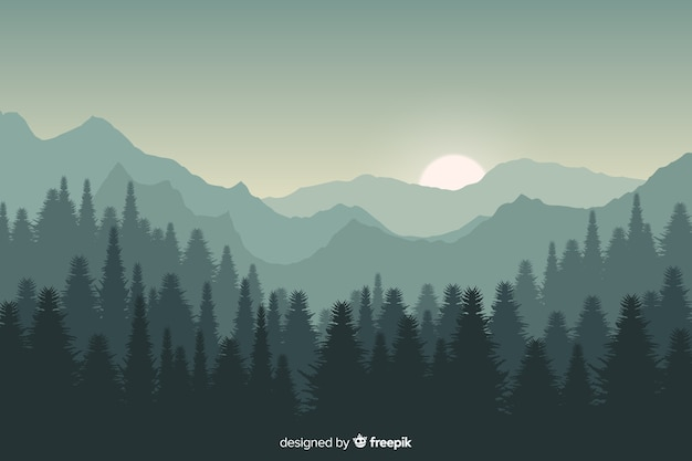 Sonnenunterganggebirgslandschaft mit steigungsfarben