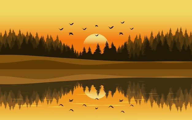 Sonnenunterganglandschaft im kiefernwald mit fluss und fliegenvögeln