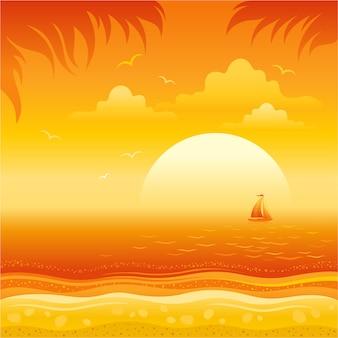 Sonnenuntergangsstrandlandschaft. sonnenaufgang ozeanhintergrund mit orange meer, tropischer sommersonne, palmen.