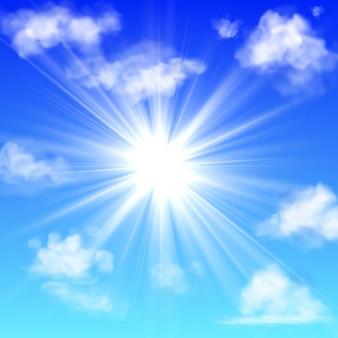 Sonnig mit wolken. blauer himmel mit weißer wolke und sonnenstrahl flauschiger nebel, der isoliertes realistisches banner trübt