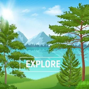Sonnige sommerlandschaft mit realistischem kiefernwald auf gebirgssee