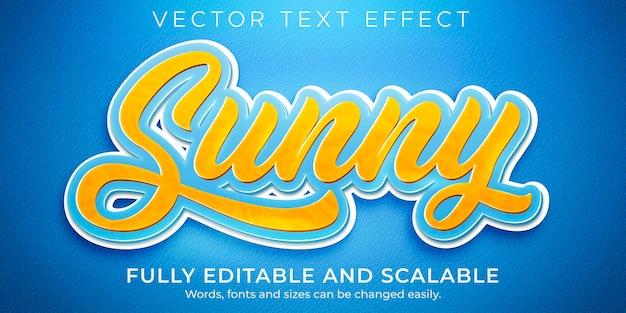 Sonniger cartoon-texteffekt, bearbeitbarer sommer- und strandtextstil Premium Vektoren