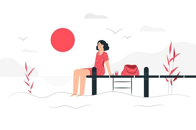 Sonniger tag illustrationskonzept