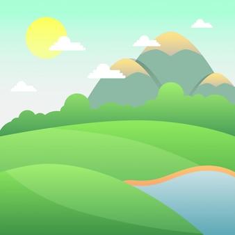Sonniger tag landschaft