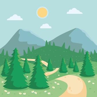 Sonniger tag mit bergen und waldfrühlingslandschaft