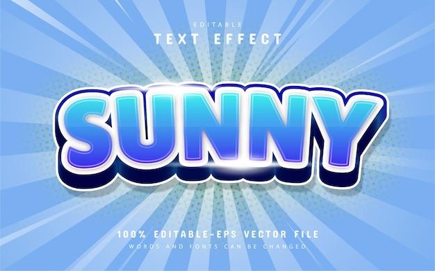 Sonniger texteffektkarikaturstil mit blauem farbverlauf