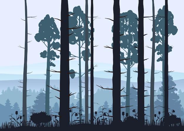 Sonniger waldhintergrund. illustration von wäldern im wald im sonnenlicht