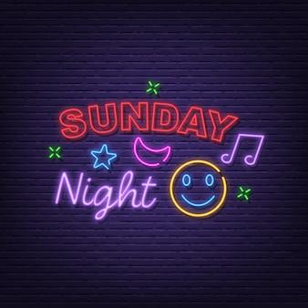Sonntagnacht neon schild
