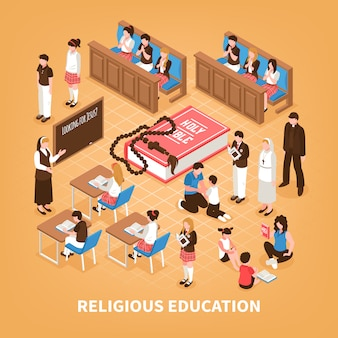 Sonntagsschule der isometrischen zusammensetzung der religionsausbildung für die kinderbibel, die zu hause gebet in der kirchenillustration liest