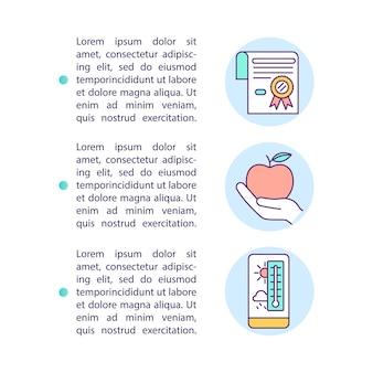 Sorgfältiges lebensmittelspeicherkonzeptikone mit text. umgang mit großen mengen organischer abfälle. ppt-seitenvorlage. broschüre, magazin, broschürengestaltungselement mit linearen abbildungen