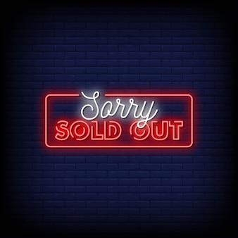 Sorry ausverkauft neon signs style text vector