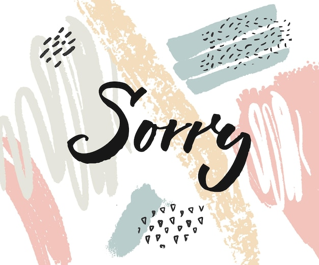 Sorry karte mit kalligraphiewort auf abstrakten farbflecken.