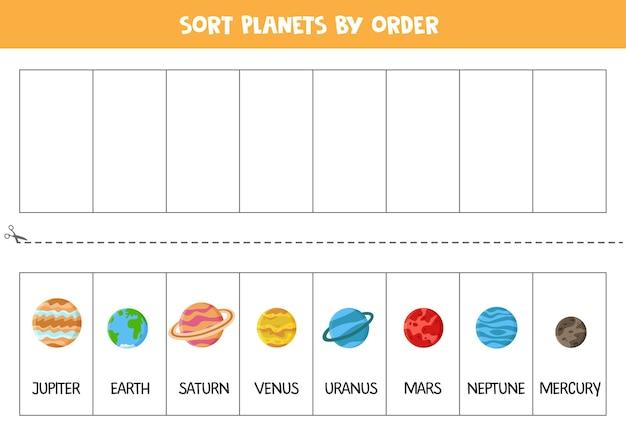 Sortieren sie die planeten des sonnensystems nach reihenfolge. raumarbeitsblatt für kinder.