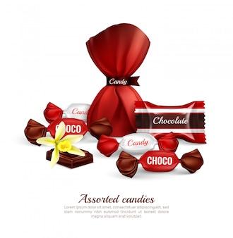 Sortierte pralinen in bunter folienverpackung mit realistischer werbezusammensetzungsbeschriftung der frischen vanilleblume