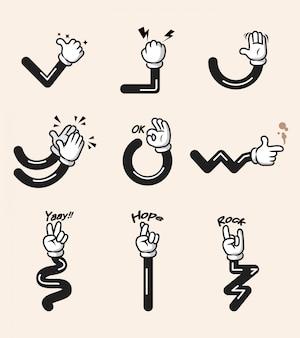 Sortierte sammlung der komischen karikaturhandgeste. hand und arme in getrennten gruppen.