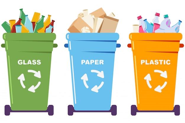 Sortierter müll in mülleimern mit papier, plastik und glas. recycling-cartooon-konzeptillustration lokalisiert auf einem weißen hintergrund.
