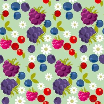 Sortiertes nahtloses muster der violetten und blauen waldbeere