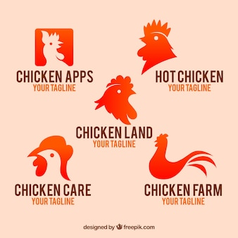 Sortiment von abstrakten logos mit hühnern