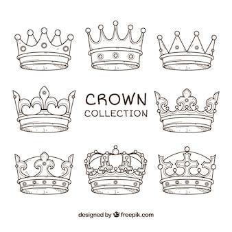 Sortiment von acht handgezeichneten kronen