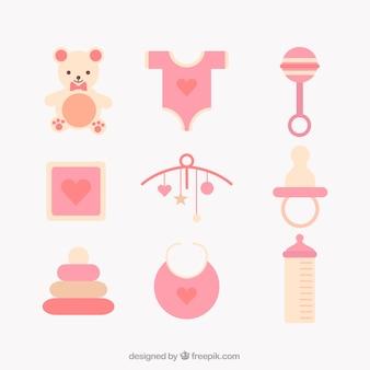 Sortiment von baby-artikel in flaches design