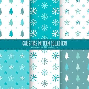 Sortiment von blau und weiße weihnachten muster