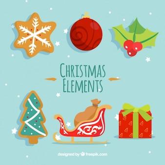 Sortiment von bunten weihnachten elemente in flaches design