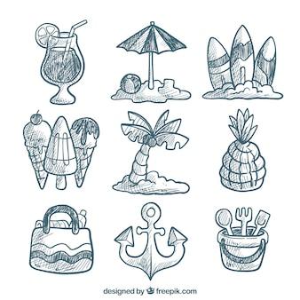 Sortiment von dekorativen sommerobjekten im handgezeichneten stil