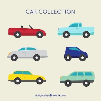 Sortiment von fantastischen autos in flachem design