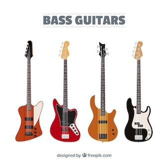 Sortiment von fantastischen bassgitarren in flachem design