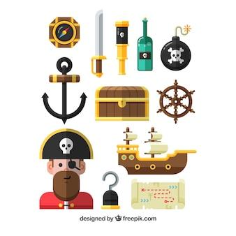 Sortiment von fantastischen piratenelementen in flachem design