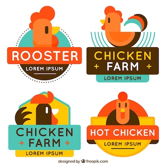 Sortiment von farbigen hühnerlogos