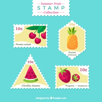 Sortiment von flachen briefmarken mit farbigen früchten