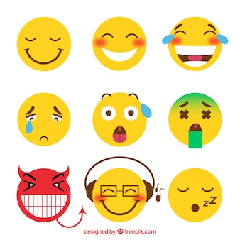 Sortiment von funny emojis in flaches design
