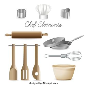 Sortiment von gegenständen zum kochen