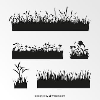Sortiment von gras silhouetten mit spannenden motiven