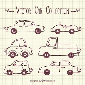 Sortiment von hand gezeichnet autos