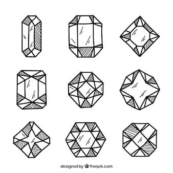 Sortiment von handgezeichneten diamanten