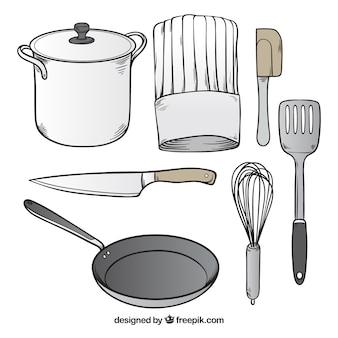 Sortiment von handgezeichneten küchenutensilien