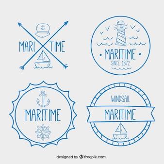 Sortiment von handgezeichneten nautischen abzeichen