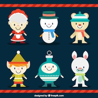 Sortiment von lächelnden weihnachts zeichen in flaches design