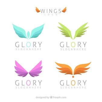 Sortiment von logos mit farbigen flügeln