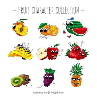 Sortiment von lustigen fruchtfiguren
