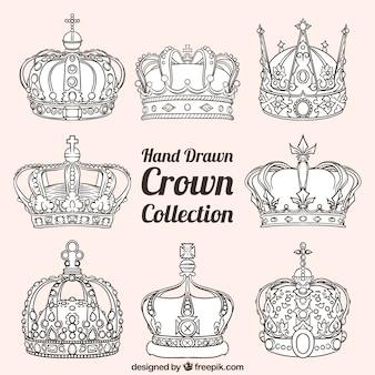 Sortiment von luxus-kronen in handgezeichneten stil
