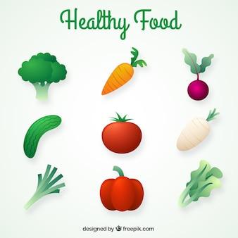 Sortiment von realistischen gesunde lebensmittel
