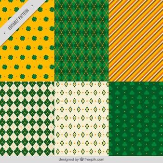 Sortiment von st patrick tag muster mit klee und geometrischen formen