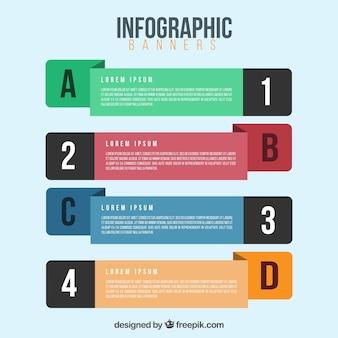 Sortiment von vier infografischen bannern