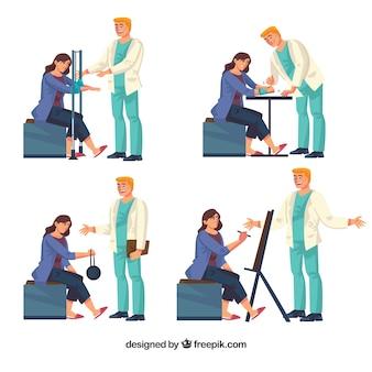 Sortiment von vier physiotherapie-übungen