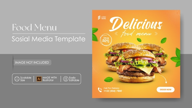 Sosial media promotion für burger food und instagram-designvorlage