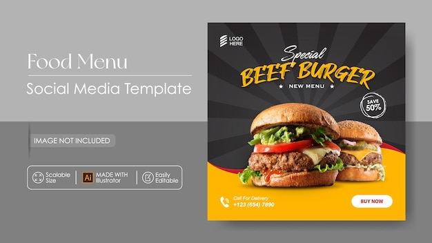 Sosial media promotion für burger food und instagram-designvorlage