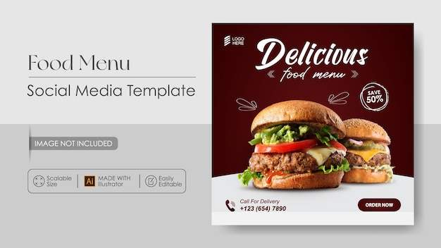 Sosial media promotion und banner design vorlage für burger food